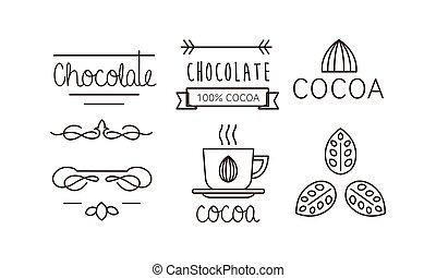 of, embleem, iconen, set, illustratie, chocolade, cacao, vector, etiket, achtergrond, witte , badge, lijn, logo