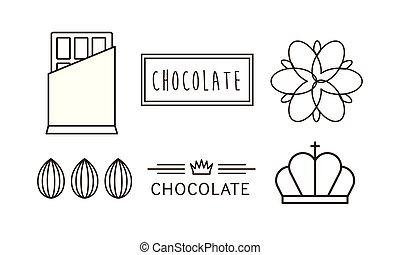 of, embleem, iconen, set, illustratie, chocolade, vector, etiket, achtergrond, witte , badge, lijn, logo