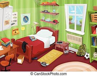 Geitje enig slaapkamer jongen levensstijl teddy clipart vector zoek naar tekeningen - Tienerjongen slaapkamer ...