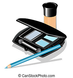 of eye shadow, pencil and concealer
