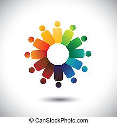 of, gemeenschap, kleurrijke, spelend, ook, werknemer, cirkels, friendship-, werkmannen , solidariteit, vector, &, graphic., vertegenwoordigt, unie, eenheid, children(kids), dit, vergaderingen, illustratie, samen, concept, enz.