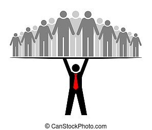 of, groep, everyone., mensen, geheel, boss., baas, community., zijn, team, steunen, leider