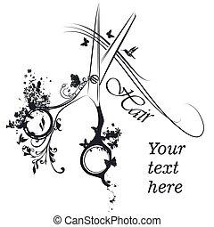 of, haarmanier, logotype, kapper, stilist, vlinder, schaar, ...