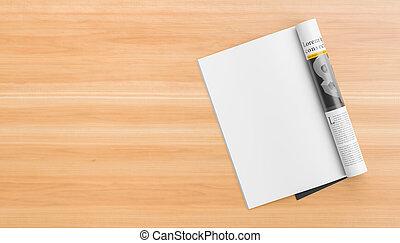 of, illustration., houten, vrijstaand, realistisch, op, catalogus, mockups., leeg, magazine, links, tafel., pagina, spotten, 3d