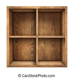 of, lade, oud, hout, vrijstaand, aanzicht, bovenzijde, ...