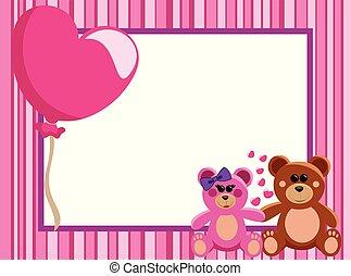 of, liefde, knuffelbeertjes, frame, valentijn, hand, grens, paar