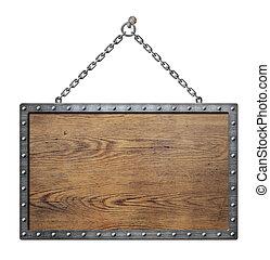 of, meldingsbord, metaal, middeleeuws, houten, schild, frame