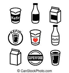 of, melk, kefir, vergiste, kephir