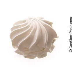 of meringues - White meringue cake on white background.