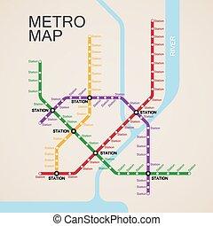of, metro, metro, ontwerp, kaart