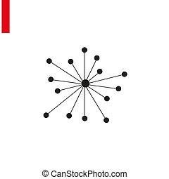 of, netwerk, illustratie, vrijstaand, molecule, pictogram, verbinding, vector, achtergrond., hub, plat, witte