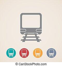 of, ondergronds, metro, train., pictogram, vector, metro, snel