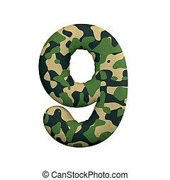 of, oorlog, survivalism, camo, -, getal, cijfer, 3d, negen, leger, concept, leger