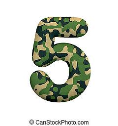 of, oorlog, survivalism, camo, -, getal, cijfer, 5, 3d, leger, concept, leger