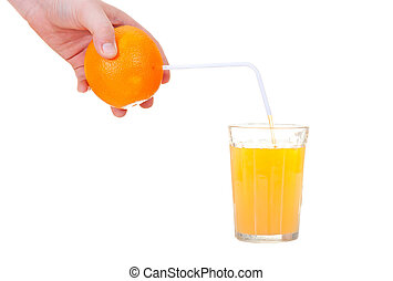 of orange juice is poured through a