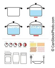of, product, set, illustration., voedingsmiddelen, recepten, het koken, handleiding, shrimp., packaging., voorbereiding, time., vector, instructie, infographics, pasta, omvat, saucepan., cook.
