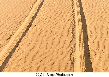 Of- road car track in desert