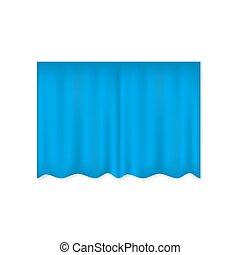 of, rood, badkamer, theater, vector, gordijn, afsluiten, kamer, realistisch, blauwe