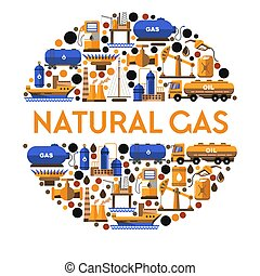 of, spandoek, gas, natuurlijke , mijnbouw, vrijstaand, ...
