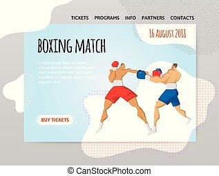 of, spandoek, vuistvechters, mal, illutration, sportende, boxing, header, poster., twee, vector, ontwerp, match., bouwterrein, vecht