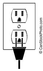 of, stekker, schets, macht, elektrische afzetgebied