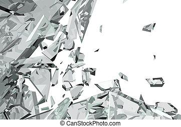 of, stukken, gesloopte, verbrijzeld glas, witte