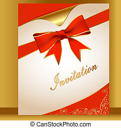 of the card with a red ribbon for the invitation of the