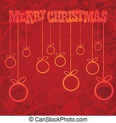 of, vector, jaar, nieuw, kerstmis, kaart, vrolijke