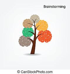 of, zakelijk, boompje, illustratie, hersenen, milieu, medisch, kennis, concept