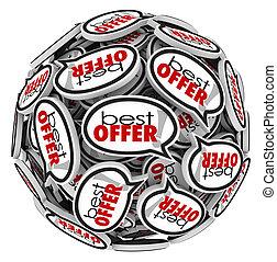 oferta, oferta, discurso, comprador, burbujas, supra-sumo, precio, mejor