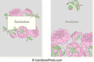 oferta, peonía, flor, vector, illustration., bosquejo, mano,...