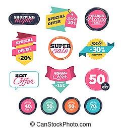 oferta, preço, venda, icons., desconto, especiais, signs.