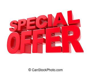 oferta, -, text., especial, rojo, 3d