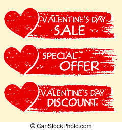 oferta, texto, valentines, -, venda, desconto, três,...