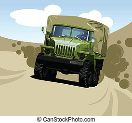 Vector color illustration of military truck . (Simple gradients only - no gradient mesh.)