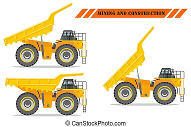 Detailed illustration of mining truck. Off-highway truck with different body position. Heavy mining machine equipment and construction machinery.