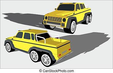 off, hjul, seks, lastbil, vej