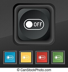 off icon symbol. Set of five colorful, stylish buttons on black texture for your design. Vector