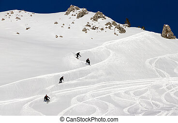 Off piste sequence - Awesome snowboarder is having fun in...