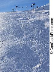 Off-piste slope at sun morning - Off-piste slope at sun...