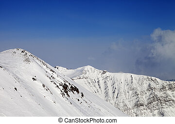 Off-piste slope. Caucasus Mountains, Georgia, ski resort...