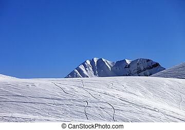 Off-piste slope. Georgia, ski resort Gudauri. Caucasus Mountains.