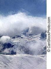 Off-piste slope in fog. Caucasus Mountains, Georgia, ski...