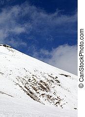 Off-piste slope with stones. Caucasus Mountains, Georgia,...