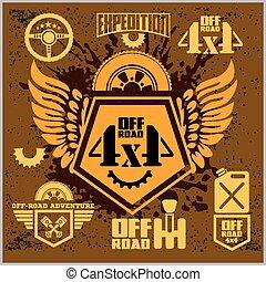 off-road, 4x4, auto, emblems, kentekens, en, icons., van-roading, avontuur, club, ontwerp, elements.