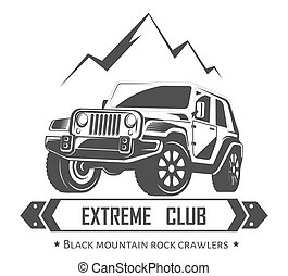 Off-road 4x4 extreme car club logo template. Vector symbol...