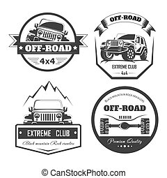 Off-road 4x4 extreme car club logo templates. Vector symbols...
