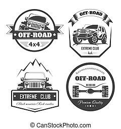 Off-road 4x4 extreme car club logo templates. Vector symbols...