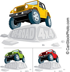Off-road vehicle parked on boulder. You can replace the carved text with your own text. The vehicle is in 3 color versions. Pick the one that serves you best. No transparency and gradients used.