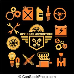 off-road adventure and car parts icon set